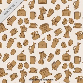 커피 메이커 패턴 및 손으로 그린 커피 요소