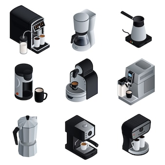 Coffee maker set. isometric set of coffee maker vector