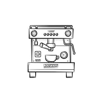 컵 손으로 그린 개요 낙서 아이콘이 있는 커피 메이커. 인쇄, 웹, 모바일 및 흰색 배경에 고립 된 infographics에 대 한 현대 자동 커피 메이커 벡터 스케치 그림.