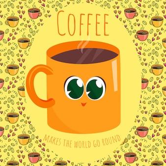 Кофе делает мир кругом Premium векторы