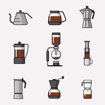 Coffee making equipment icon pack