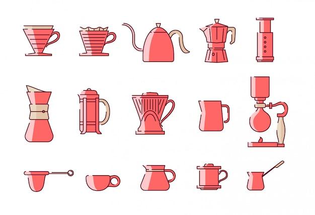 커피 수동 양조 장비 그림 설정합니다. 인스 타 그램 하이라이트와 아이콘에 좋습니다. 프리미엄 벡터
