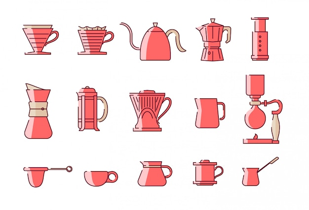 Coffee manual brewing equipments illustration set. good for instagram highlights and icon.