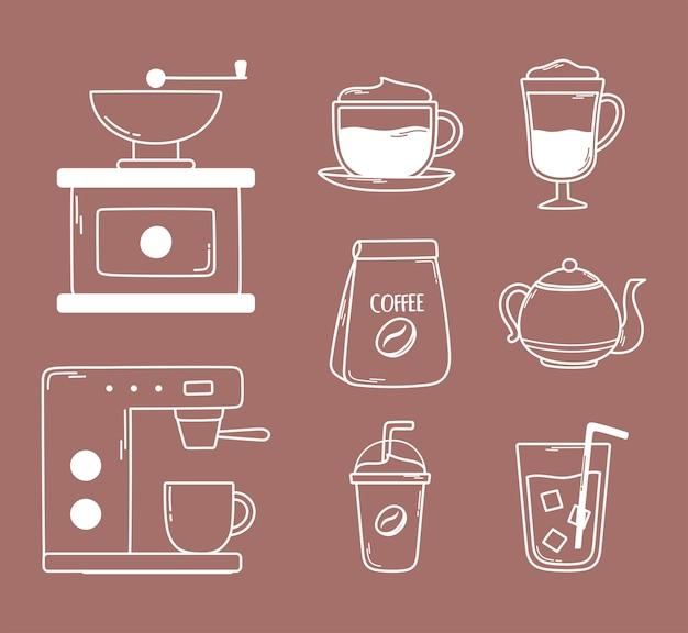 Кофе ручная обжарочная машина чайник фраппе холодные свежие иконки линия и заливка