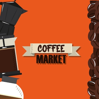 Coffee market, kettle french press and maker grains drink vector illustration