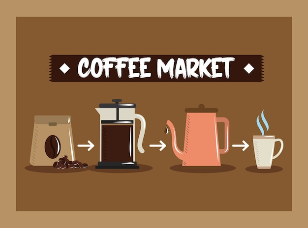Coffee market, sack french press kettle and cup hot beverage vector illustration