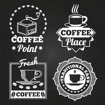 Coffee market shop and cafe label collection on chalkboard