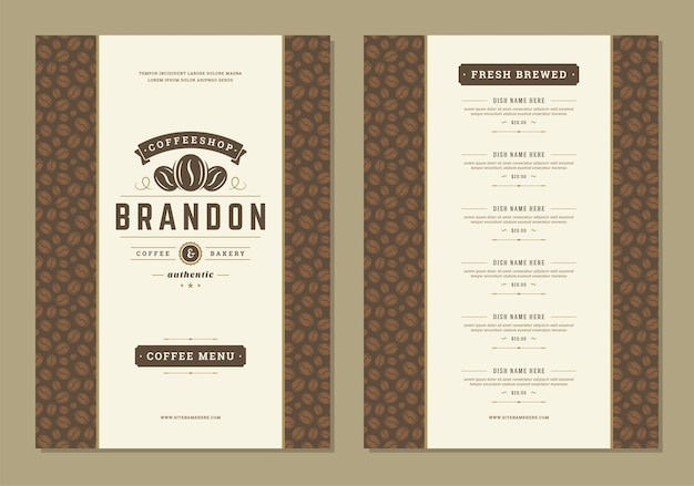 Coffee menu design brochure template