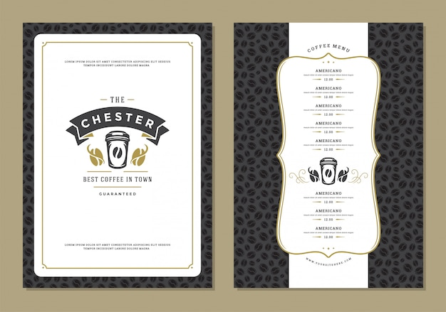 Coffee menu design template flyer for bar or cafe with offee shop logo cup symbol.