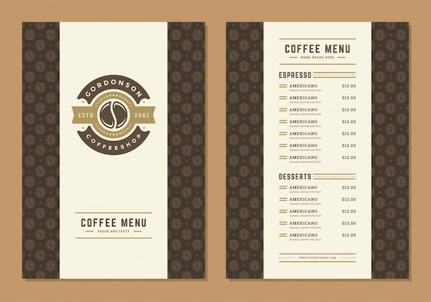 Coffee menu design template flyer for cafe with coffee shop bean symbol and vintage typographic decoration elements.