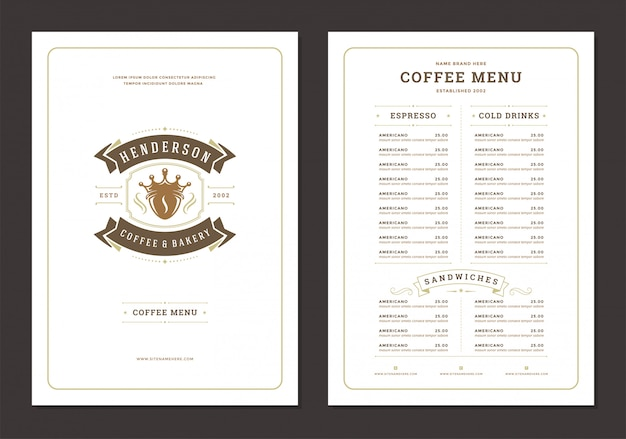 Coffee menu design template flyer for cafe with coffee shop logo bean with crown symbol.