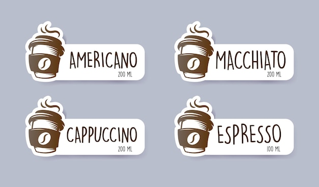 Наклейки меню кофе