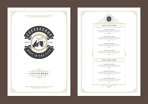 Coffee menu template design flyer for bar or cafe with coffee mug symbol and retro typographic