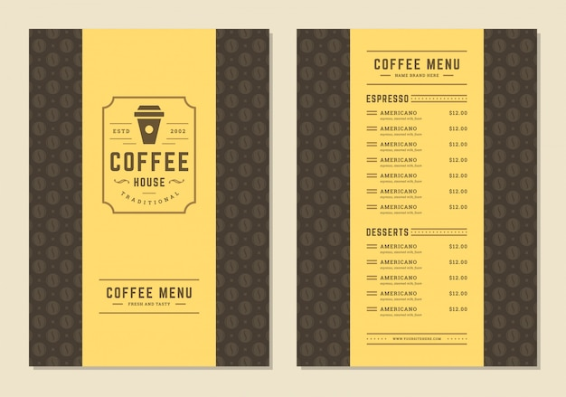 Coffee menu template design flyer for bar or cafe with coffee shop logo cup symbol.