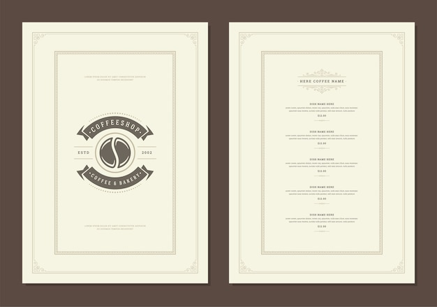 Coffee menu template design flyer for bar or cafe