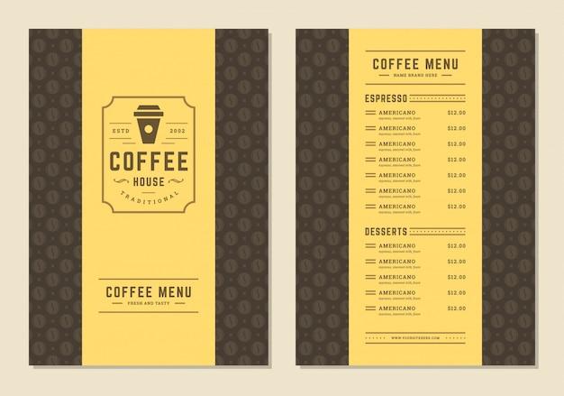 バーやコーヒーショップのロゴカップシンボルとカフェのコーヒーメニューテンプレートデザインチラシ。