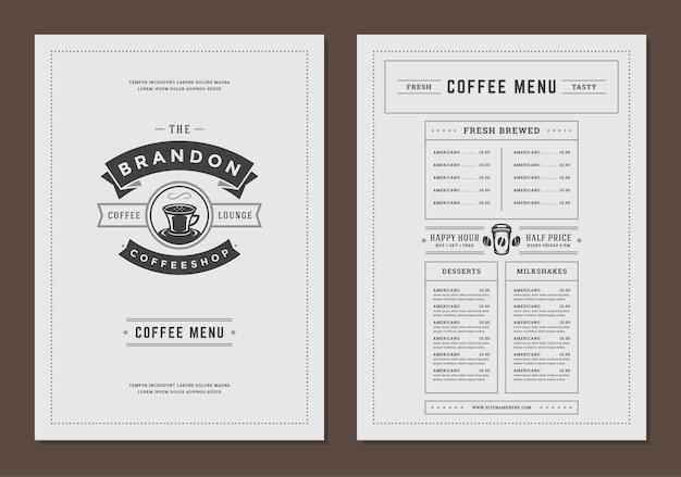 バーやカフェのコーヒーメニューテンプレートデザインチラシ