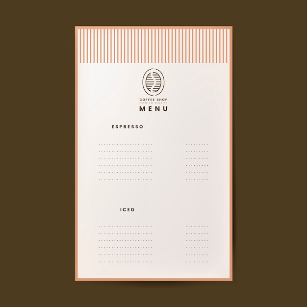 Coffee menu template isolated vector