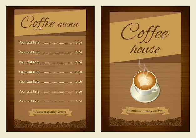 コーヒーメニューテンプレート。