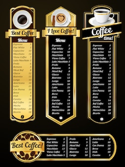 Coffee menu templates