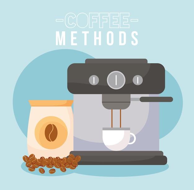 Кофейные методы с машинной чашкой и дизайном мешка для зерен с напитком, кофеином, завтраком и напитком