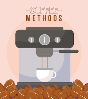 Coffee methods with machine cup and beans design of drink caffeine