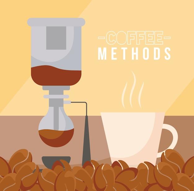 Кофе методы с сифонной машиной чашка и зерна дизайн напитка кофеин