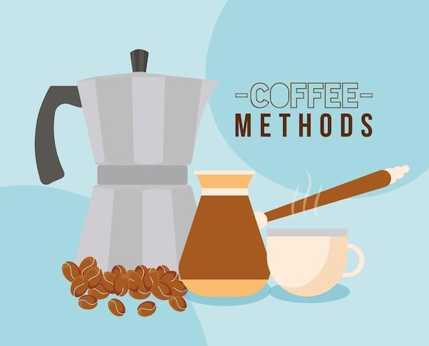 터키 냄비 컵 주전자와 음료 카페인 아침 식사 및 음료 테마의 콩 디자인을 사용한 커피 방법