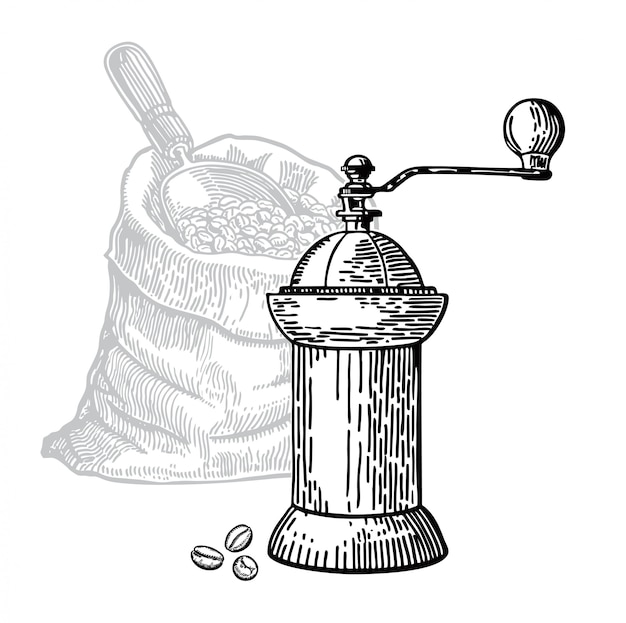 Coffee mill sketch coffee beans in a bag