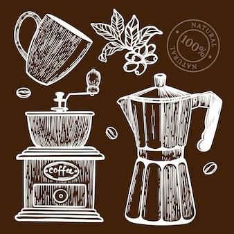 デザートドリンクとナチュラルのショップのステッカーとラベルのコーヒーミルスケッチデザイン