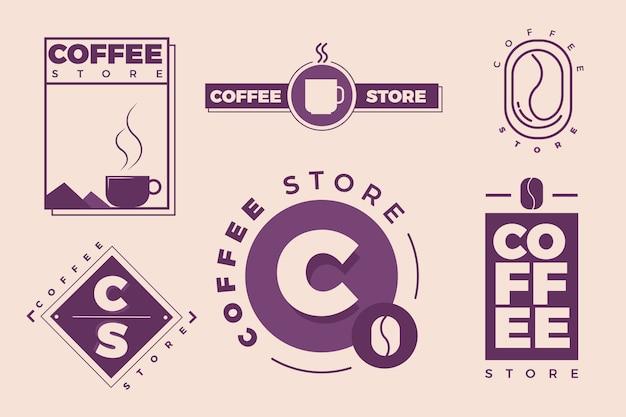 2色のコーヒーミニマルロゴコレクション