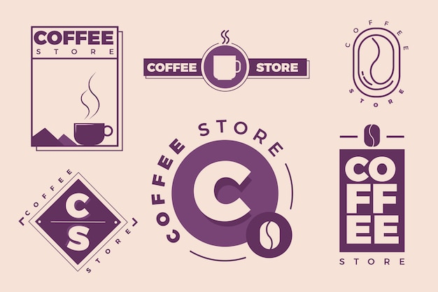 Coffee minimal logo collection in two colours