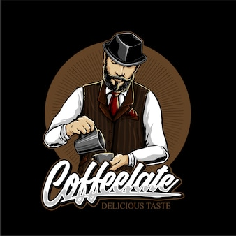Coffee mixers in coffee shop  logo design