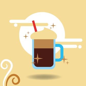 커피 모카 컵 거품 짚 감기