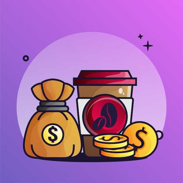 Coffee and money with coin gradient