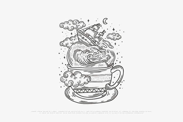 コーヒーモノラインイラスト