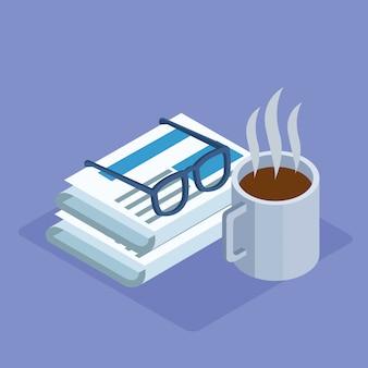 コーヒーマグカップと紫色の背景、カラフルな等尺性の上の新聞のメガネ