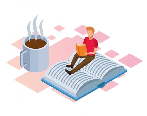 Кофейная кружка и мужчина читает книгу на белом фоне