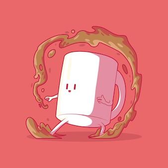 Кофейная кружка характер векторные иллюстрации кофе мотивация вдохновение забавная концепция дизайна