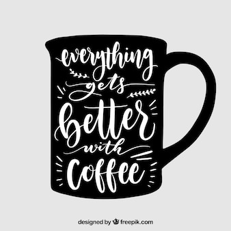 Coffee mug design with lettering