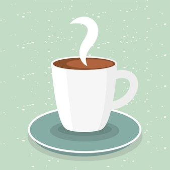Coffee mug on green design of time drink breakfast beverage shop