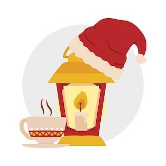 Coffee mug and lantern with christmas hat over white background