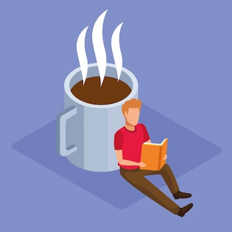 Coffee mug and man reading a book over purple background, colorful isometric