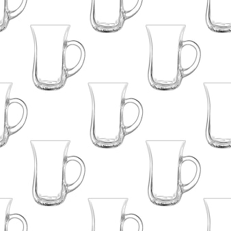 Coffee mug seamless pattern. hand drawn glassware cup.