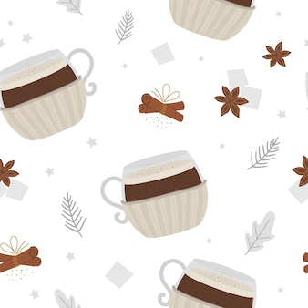 Coffee in mug with knitted cup holder seamless pattern. winter traditional warming drink