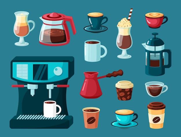 Кофейные кружки. чайник и чашки горячие энергетические напитки латте американо капучино в прозрачных стаканах кофеварка