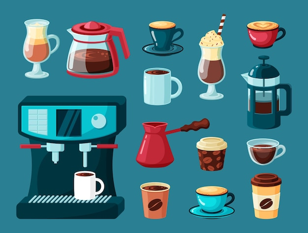 Coffee mugs. teapot and cups hot energy drinks latte americano cappuccino in transparent glasses coffee machine