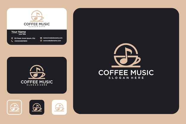Coffee music logo design and business card