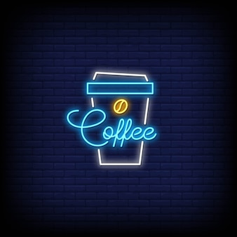 Coffee in neon signs style symbol
