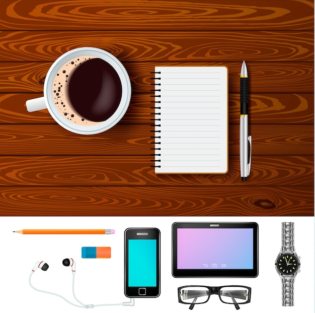 Coffee and notepad on wooden table composition